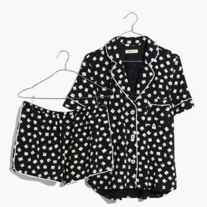 Madewell B/W Knit Bedtime Cat Person Pajamas S